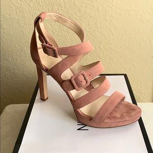 Nine West Pink Suede Tarykah Stappy Sandal Heels